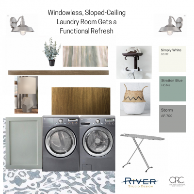 Windowless, Sloped Ceiling Laundry Room Gets a Functional Update  One Room Challenge – Week Two
