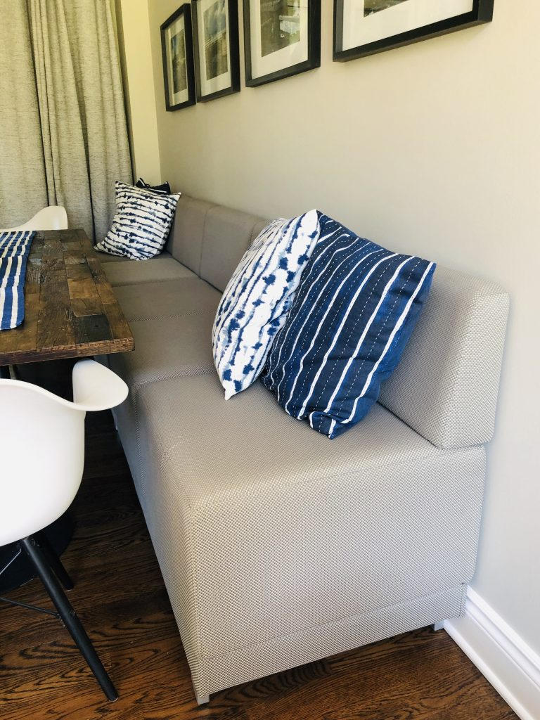 10 foot long cushioned banquette