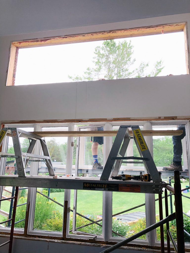 A big hole in the house while they install a new window