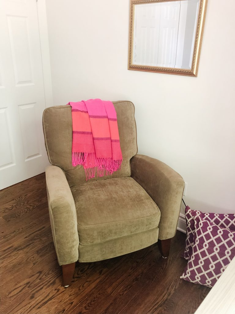 My comfy recliner for reading in my girly office