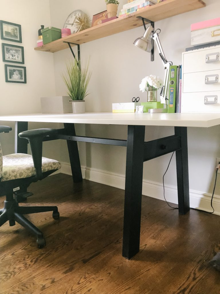 This black trestle base was a great addition to my girly office
