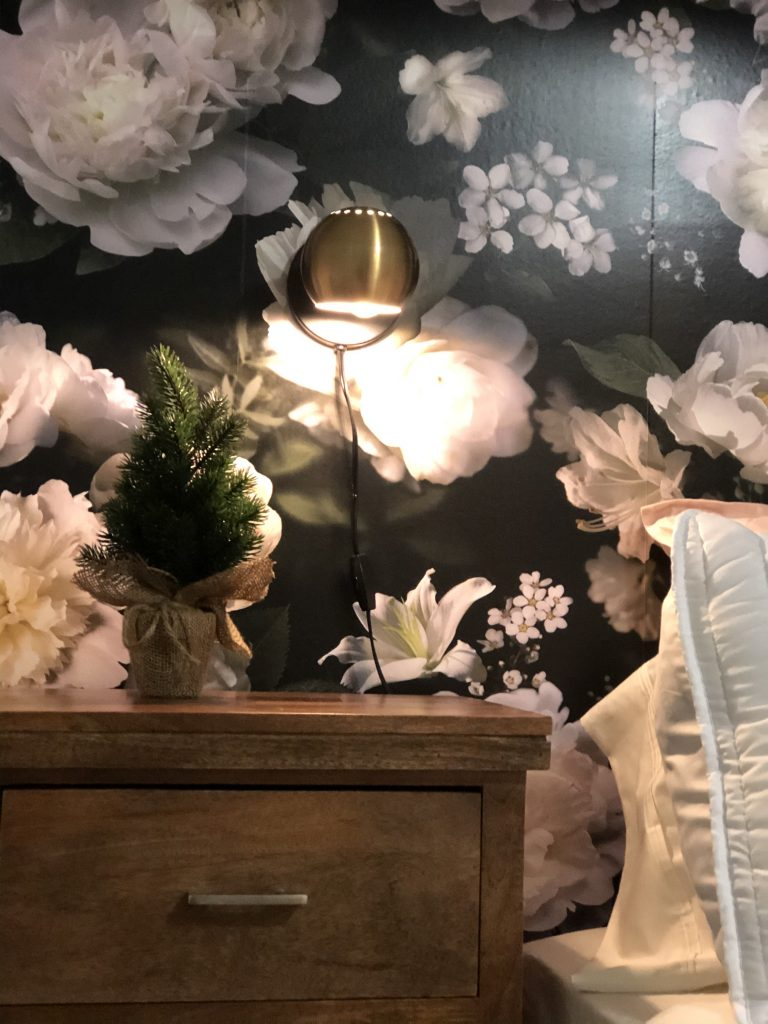 This peel and stick wallpaper from Room Mates Decor is so beautiful and dramatic it brings the whole room together as part of the bedroom makeover.