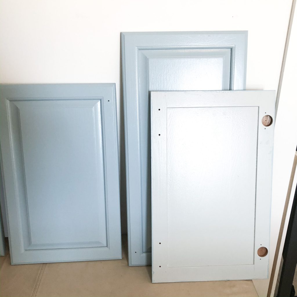 I had originally started out with this really light blue but then changed to Slate Blue from BM