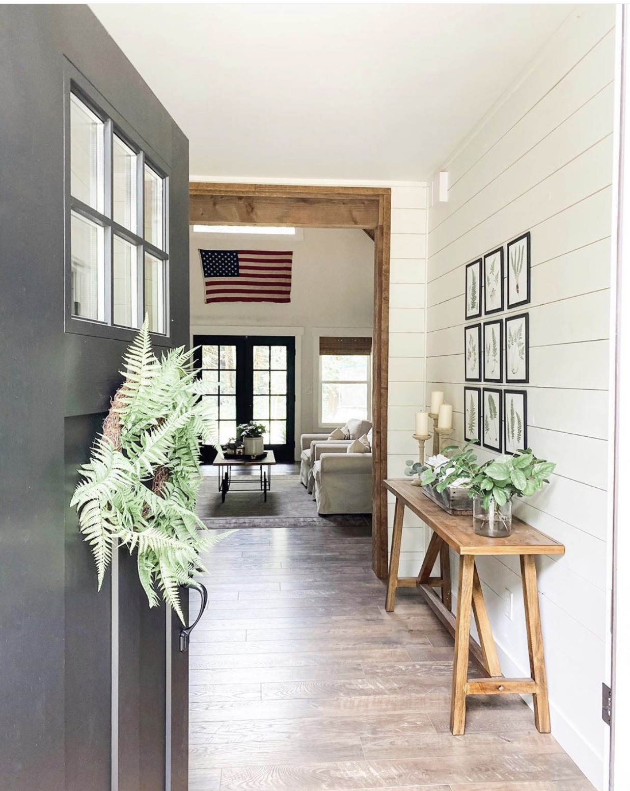 Here is a nice example of farmhouse style, complete with shiplap 📷 @lifeamongthecedars