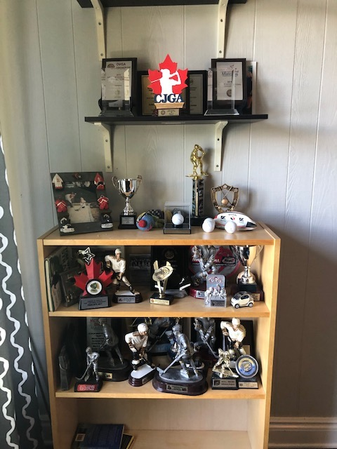 This shelf of trophies from my son's years of playing hockey was collecting dust so it was time for them to be boxed up