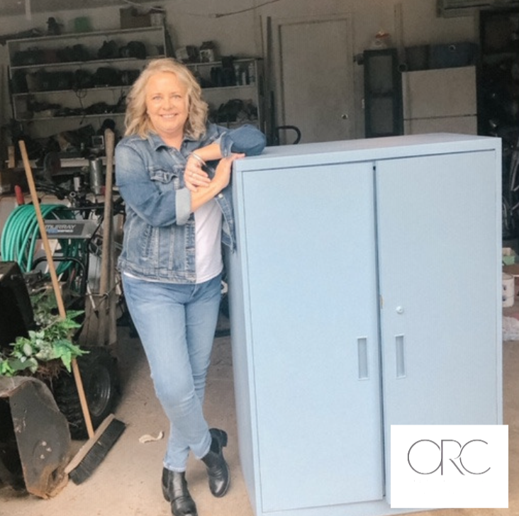 I am in my Canadian tuxedo in honour of Benjamin Moore's Denim Wash paint colour which brought this old cabinet back to life.