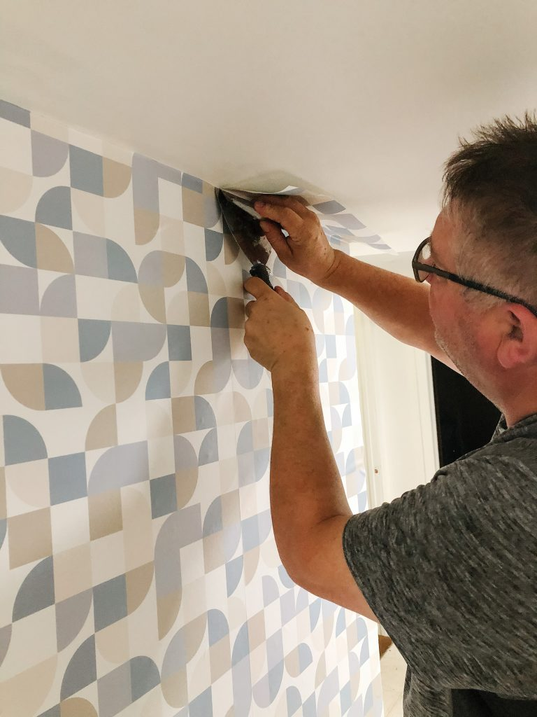 We found this peel and stick geometric pattern easy to install because of the simple pattern repeat.